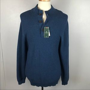 GH Bass Blue Half Button Front Sweater Pullover